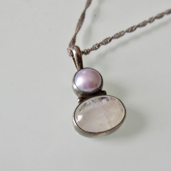Pearl and Moonstone Silver Pendant