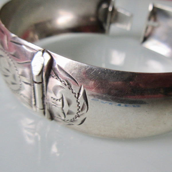 Vintage Etched Silver Hinged Cuff
