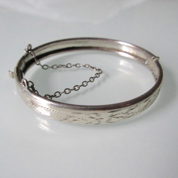 Vintage Childs Etched Silver Hinged Bracelet Cuff