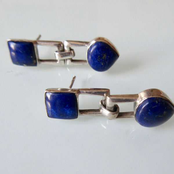 Lapis Silver Hinged Dangle Earrings