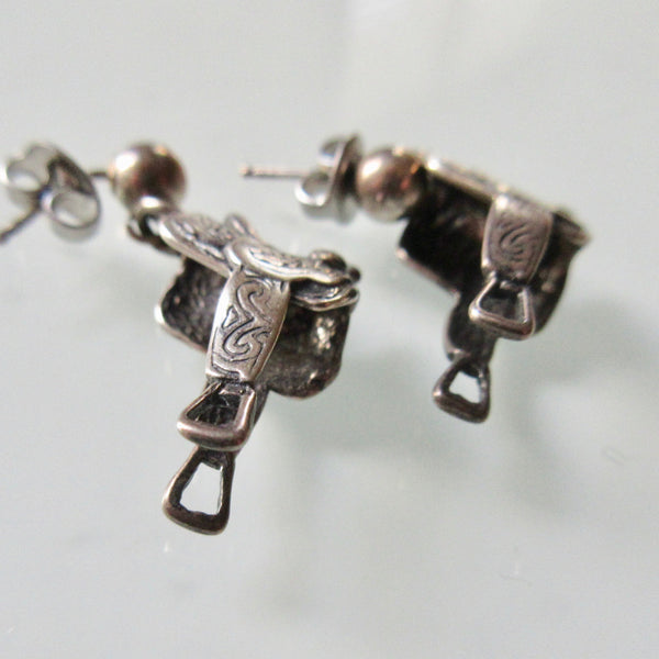 Saddle Silver Dangle Earrings