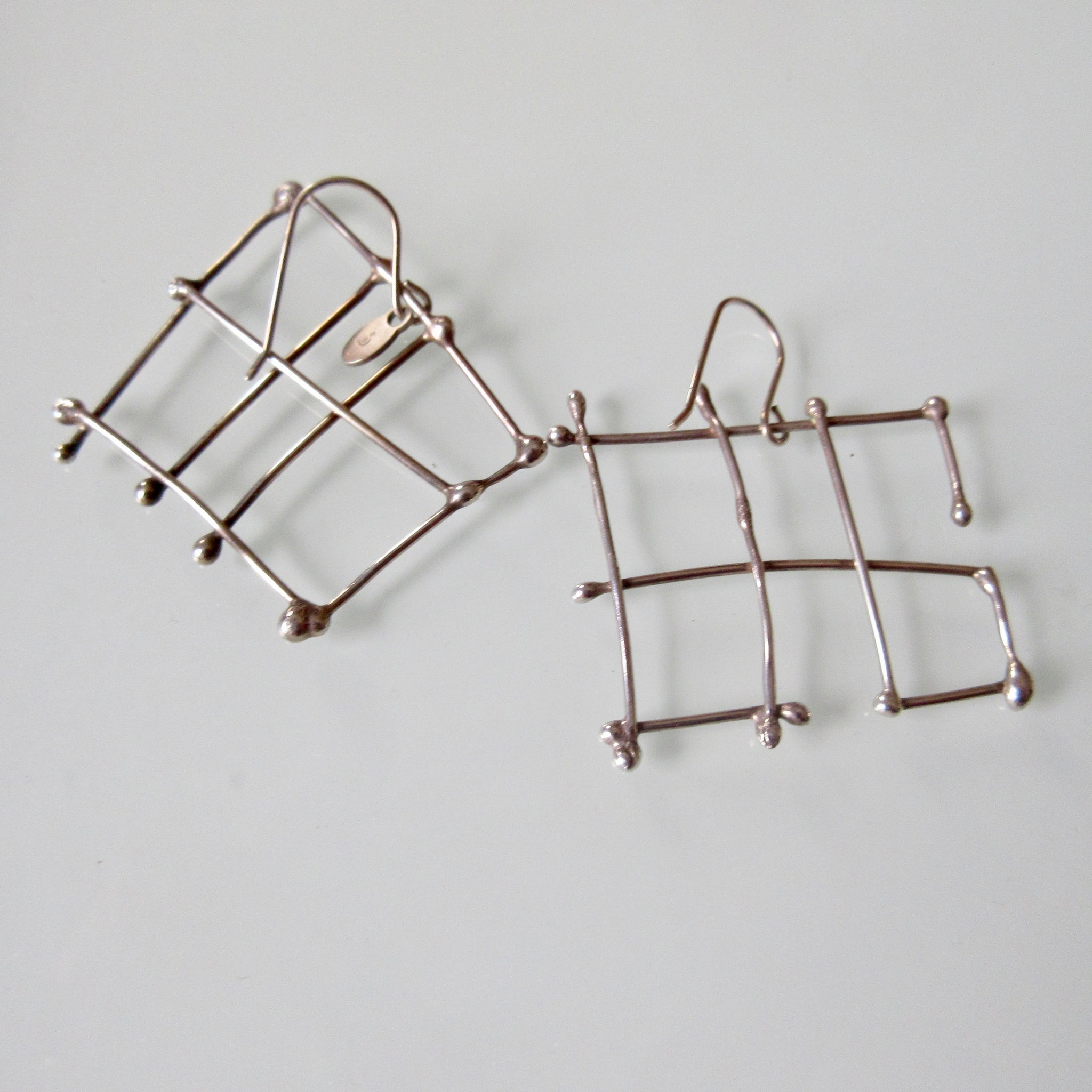 Contemporary Grid Silver Earrings