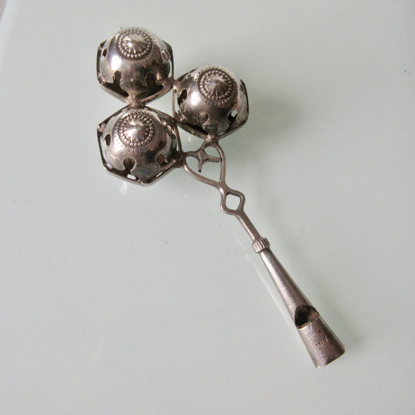 Victorian Era Silver Rattle With Whistle