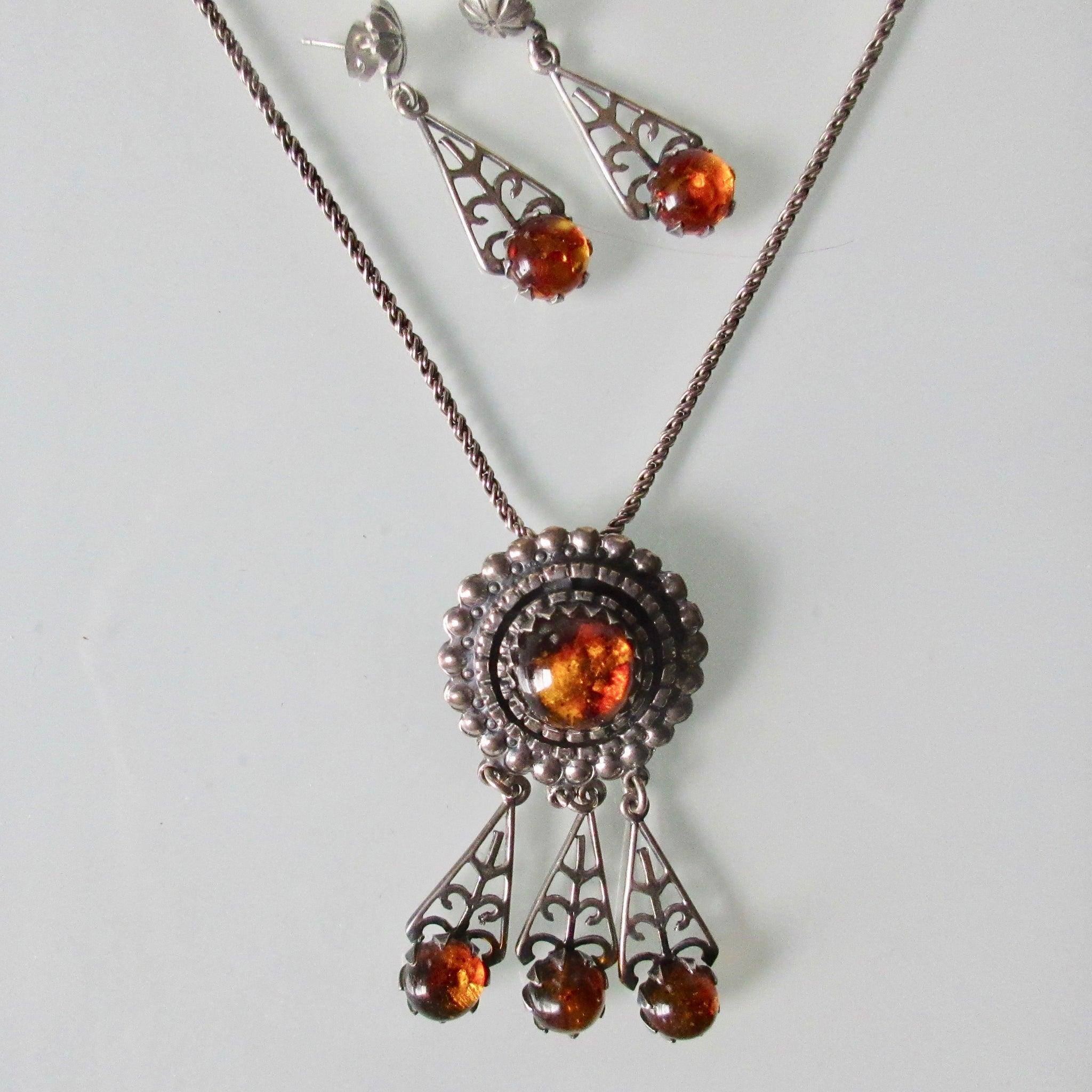 Amber and Silver Pendant and Earring Set