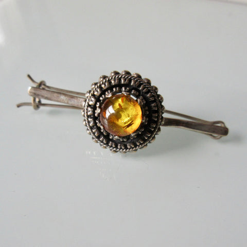 Amber and Silver Hair Pin