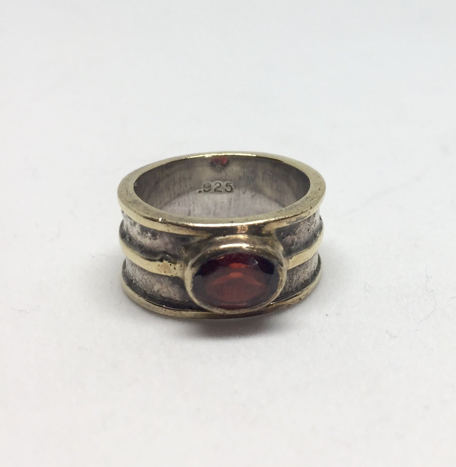Modernist Silver Gold Edge and Red Stone Ring