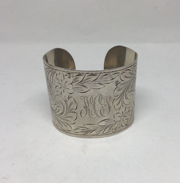 "Silver Cuff 2"" With Etching"