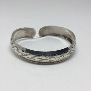 Etched Silver Cuff - Narrow