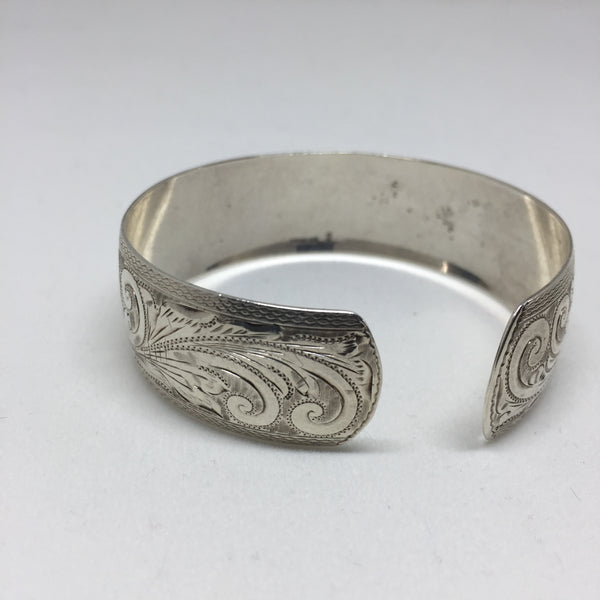 Finely Etched Silver Cuff