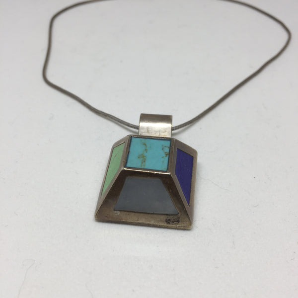Silver Tapered Cube Pendant with Stone Insets