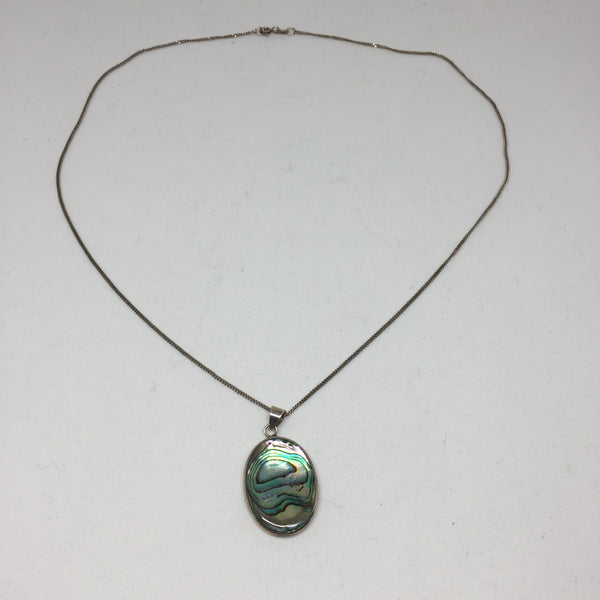 Mother of Pearl 2 sided Silver Pendant