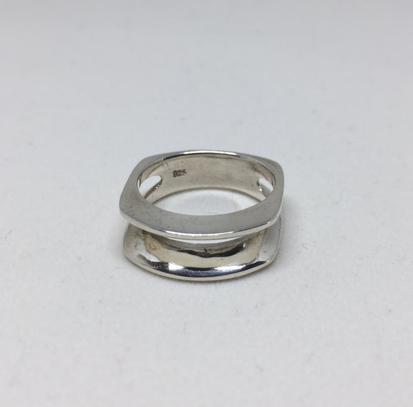 Modernist Silver Open Middle Ring