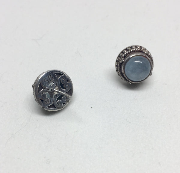 Blue Quartz Silver stud Earrings