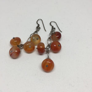 Silver and Red Agate Dangle Earrings