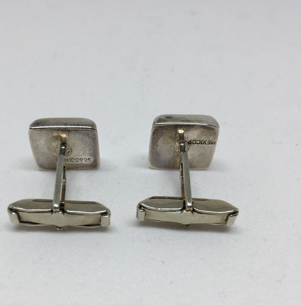 Silver Chicklet Cuff Links