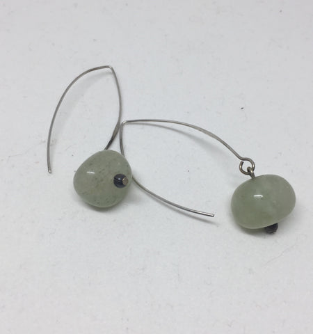 New Jade Dangle Silver Earrings