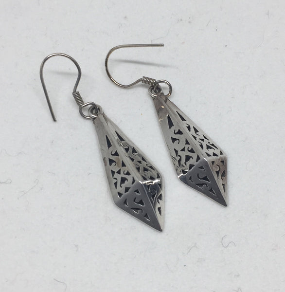 Dangle Silver Hollow Earrings