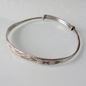 Etched Adjustable Sterling Silver Bangle