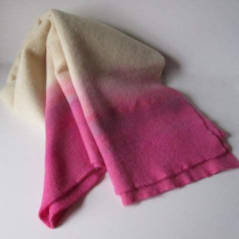 Vintage Dip Dyed Wool Blanket Throw - Pink