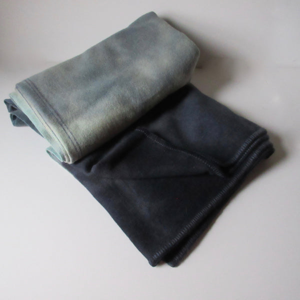 Vintage Dip Dyed and Over Dyed Wool Blanket -Gray/Blue