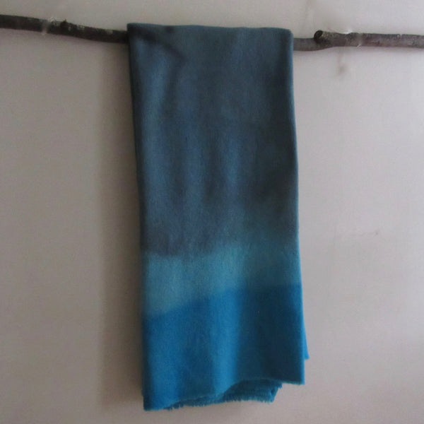 Vintage Over Dyed Wool Blanket Blue Turqoise Gray