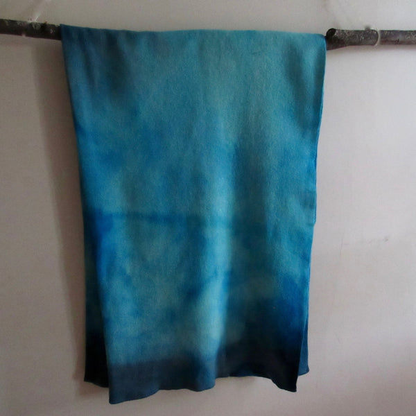 Vintage Over Dyed Wool Blanket Tones of Turquoise