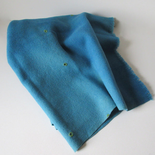 Vintage Over Dyed and Mended Wool Throw - Blue