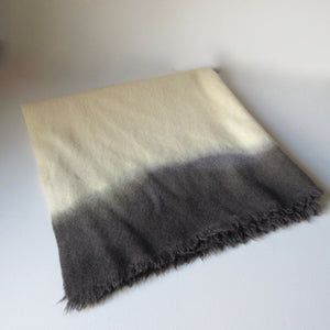 Vintage Dip Dyed Wool Shawl Gray