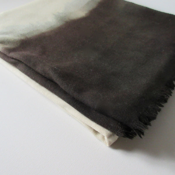 Vintage Dip Dyed Wool Shawl - Gray Brown