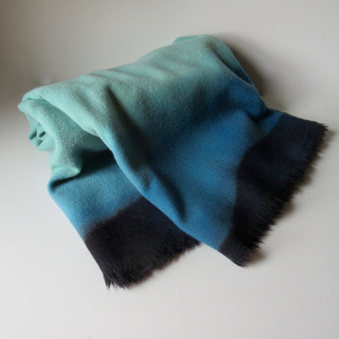 Vintage Dip Dyed Wool Blanket - Turquoise Two Tones of Blue