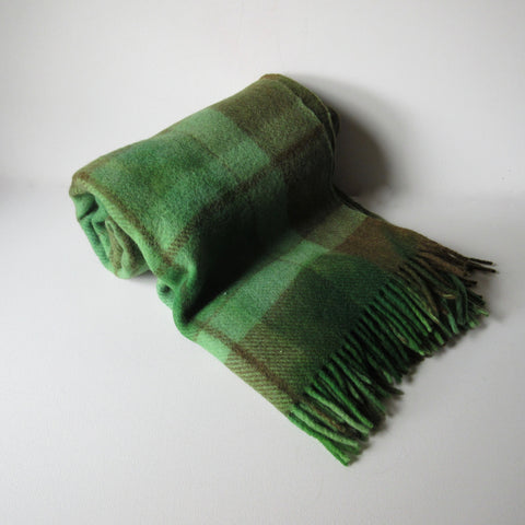Vintage Wool Over Dyed Plaid Blanket Green