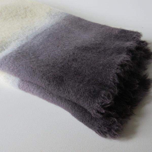 Dip Dyed Vintage Wool Throw Gun Metal Gray