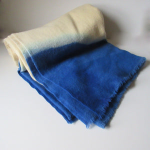 Dip Dyed Vintage Wool Blanket Bright Blue