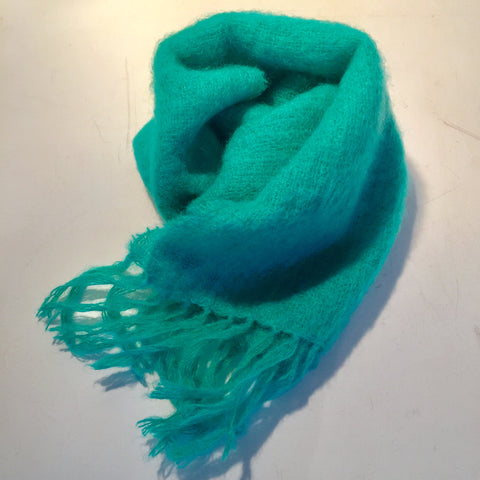 Mohair Wool Scarf John Hanly - Green Turquoise