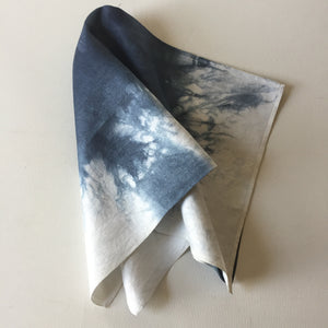 Vintage Damask Over dyed Napkins - Dark Blue/White
