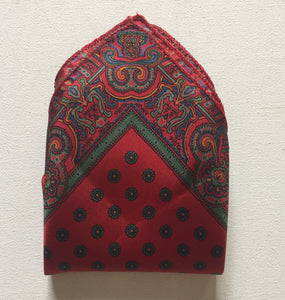 Pocket Square Silk Scarf with Border