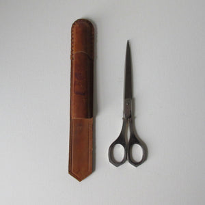 Vintage Paper Scissors in Leather Case
