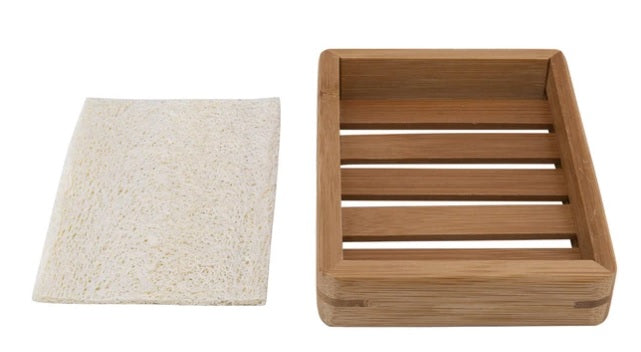 Accessory - Bamboo Soap Tray With Loofah