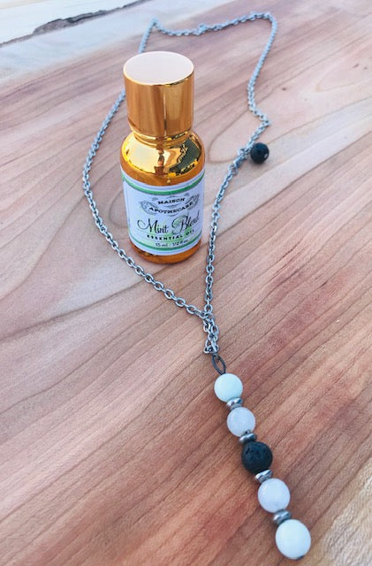 Aromatherapy Necklace + Mint Essential Oil