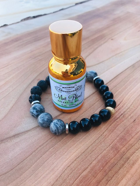 Aromatherapy Bracelet + Mint Essential Oil