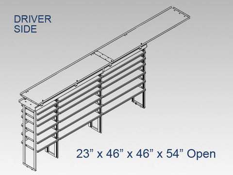 "Driver Side Alum. Kit - 23"" x 46"" x 46""x 54"" Open (OEM Bulkhead)"