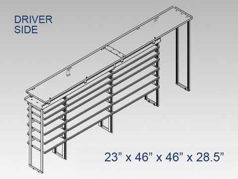 "Driver Side Alum. Kit - 23"" x 46"" x 46"" x 28.5"" Open"