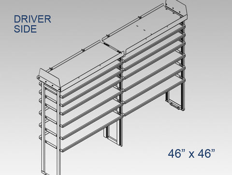 "Driver Side Alum. Kit  w/ Pipe Shelf - 46"" x 46"""
