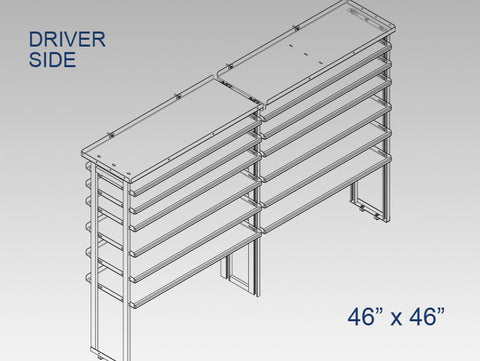 "Driver Side Alum. Kit w/ Ladder Shelf - 46"" x 46"""