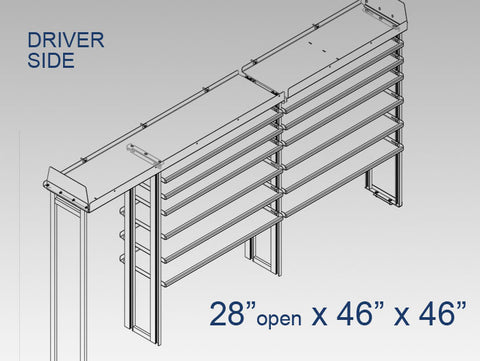 "Driver Side Alum. Kit - 28"" open x 46"" x 46"""