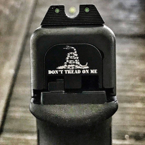 Don't tread on me gadsden flag laser engraved on rear slide back plate for Glock