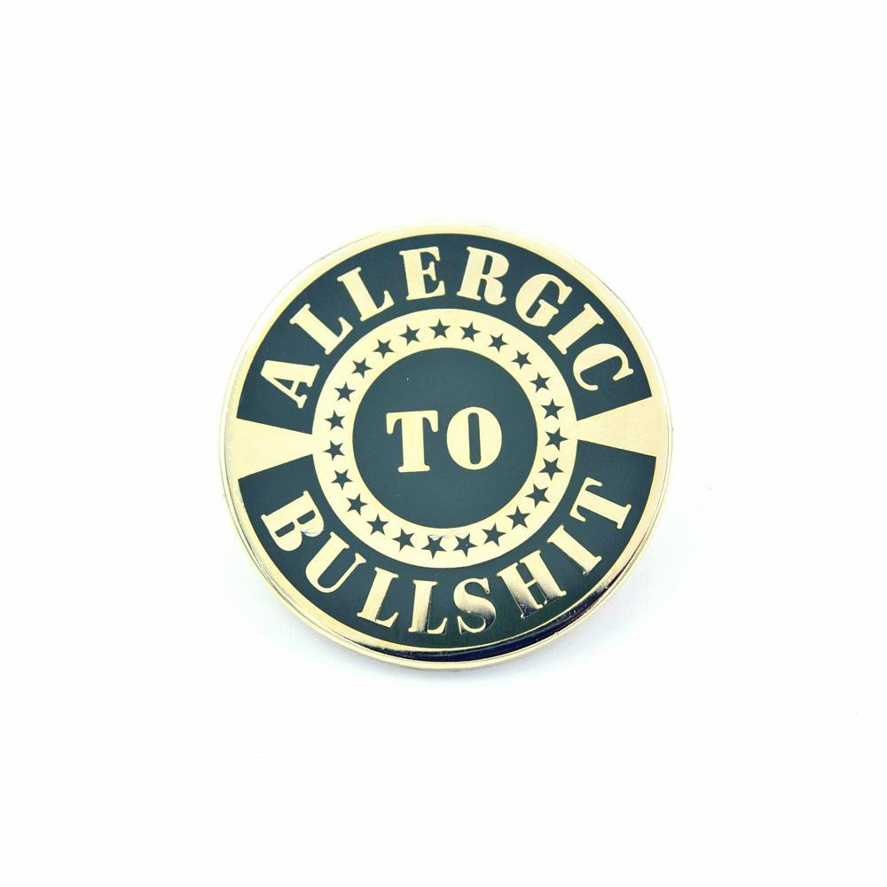 Bastion Morale Lapel Enamel Pin Allergic To BS - Choose Color