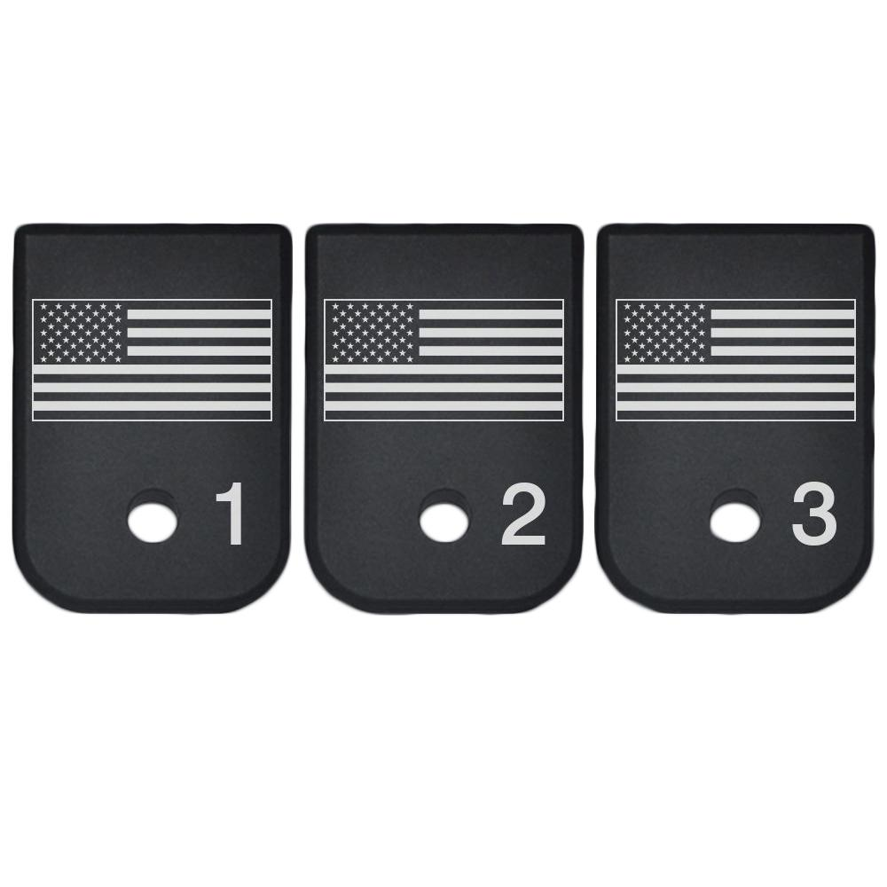 Magazine Base Plate For Glock 9mm .40 Cal - 3 Numbered USA Flag