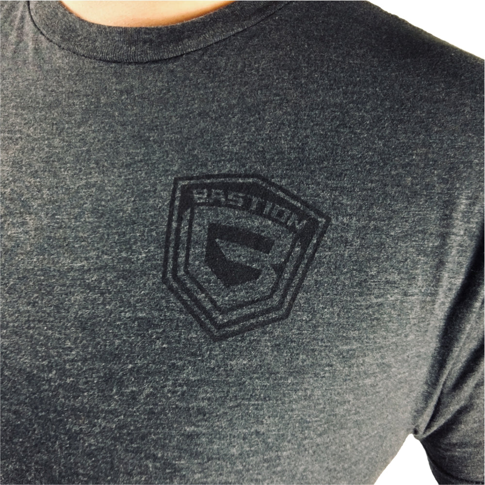 T-Shirt BASTION Logo and Arm Patch - Ash and Black