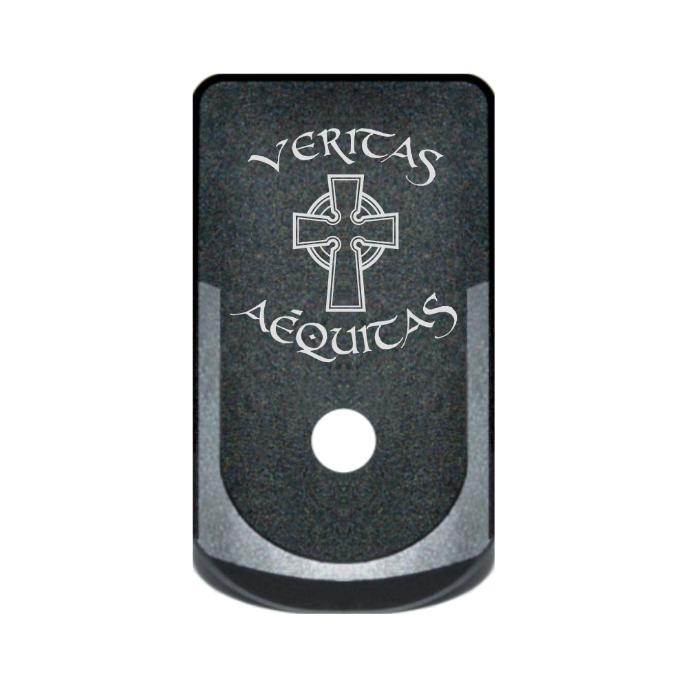 Veritas Aequitas text and Celtic Cross laser engraved on a grip extended magazine base plate for Glock 43